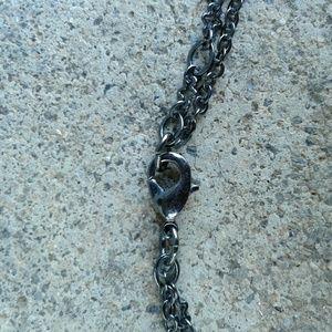 Jewelry - Black stone pendant flower necklace earrings set